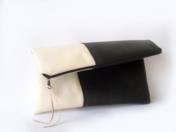 Foldover clutch purse ,Black and cream vegan leather
