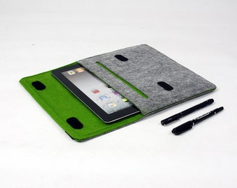 Felt iPad 1 2 3 4 Case, New iPad Sleeve iPad Bag with Earphone Organizer Holder Custom Made Bag for iPad1 2 3 E552