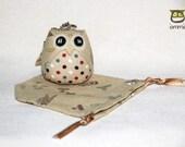 Minnie - Owl Doll with a Bag: owl plush, owl decor, panda, little, mini, kid, cream, colorful, poka dot, owl decoration, kawaii, iammie