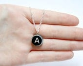 Wooden Typewriter Key Necklace - pick your letter