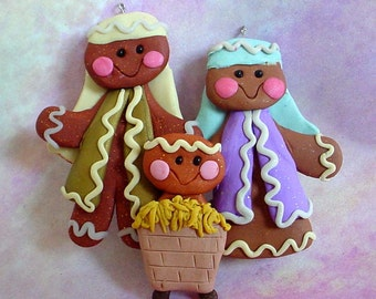 Gingerbread Nativity Christmas Ornament Family  Baby Jesus Manger Holy Family Polymer Clay Milestone Cake Topper Pageant Ginger Cookie