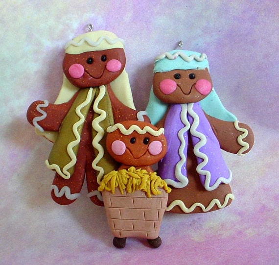Polymer Clay Milestone/Christmas Ornament  Cake Topper Gingerbread Nativity Baby Manger