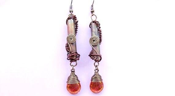 Steampunk Jewelry, Industrial Chic Earrings, Long Earrings, Dangle Earrings, Mixed Media, Tear Drop Beads in Rose Topaz Luster