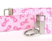 Breast Cancer Ribbon Key Chain, Wristlet, Key Fob