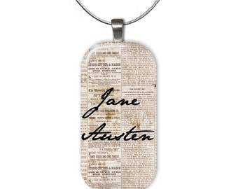 Vintage Jane Austen Signature Necklace Glass Tile Pendant 22 Inch Silver Plated Chain Included Authors Literary