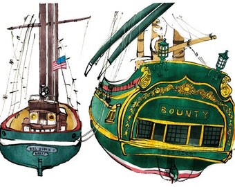 bel espoir and bounty: ship print / nautical illustration