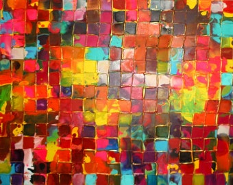 XL Original Mosaic painting by Caroline Ashwood - Huge Fine art contemporary abstract on canvas - FREE SHIPPING
