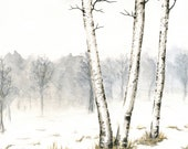 "Winter Landscape Painting, Original Birch Trees Watercolor Landscape, Winter Birches Art, Winter Trees, Gray Sky, Snow, Watercolor 10"" X 8"" - ABFoleyArtworks"