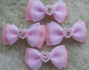 30 Ribbon/Organza bow w/ Rhinestone Appliques-Pink-A163
