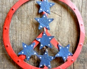 3 Stars and Stripes Peace Sign Magnets Patriotic Rustic Home Decor
