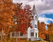 The Church -  Nature photography, landscape photography, fall, autumn, fine art print, leaves, new england