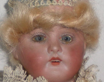 Vintage Antique Musical Marotte Bisque Head Photographers Doll On A Whistle Stick Circa Early 1900's FREE USA SHIPPING