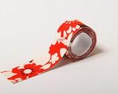 Sticky Adhesive Fabric Tape, Japanese Washi Tape - Retro Red Flower