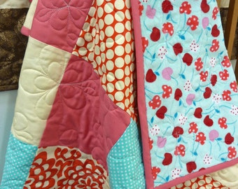 Cherry Picnic Minky Baby Quilt
