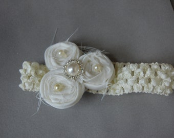 Couture Vintage Style ivory handrolled Rosettes with a Rhinestone embellishment.