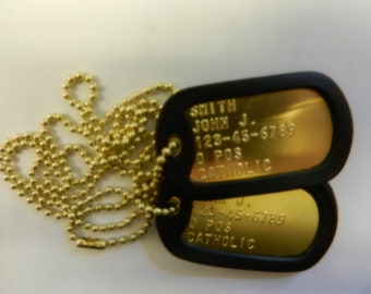 Brass US Military Dog Tag Set with Silencers