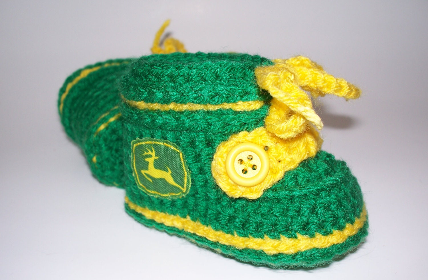 Baby Deere Style Work Boots Green Yellow Fun by ...