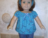 Dragonfly Print Peasant Blouse, Headband and Jean Leggings for American Girl Doll or 18 inch Dolls