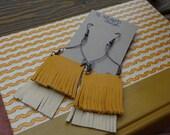 Leather Fringe & Wire Earrings