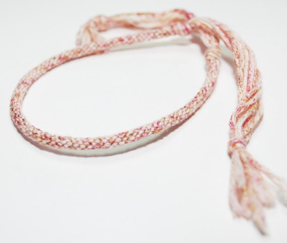 Kumihimo Bracelet Egyptian Cotton Fiber Red Variegated Spring Jewelry