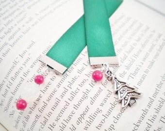 Green Satin Christmas Tree Ribbon Bookmark, Stocking Stuffer, Gifts Under 10