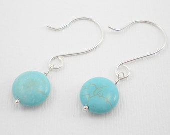 Turquoise Stone and Sterling Silver Handcrafted Earrings / Handmade Jewelry / December Birthstone / E118