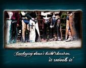 Cowboy Note Card w/Chaps Determination Quote Motivational Set of 12