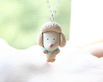 Cream Poodle Necklace -Sterling silver-