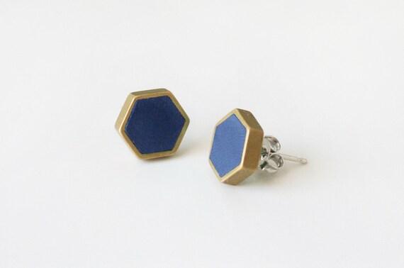 Navy hexagon stud earring