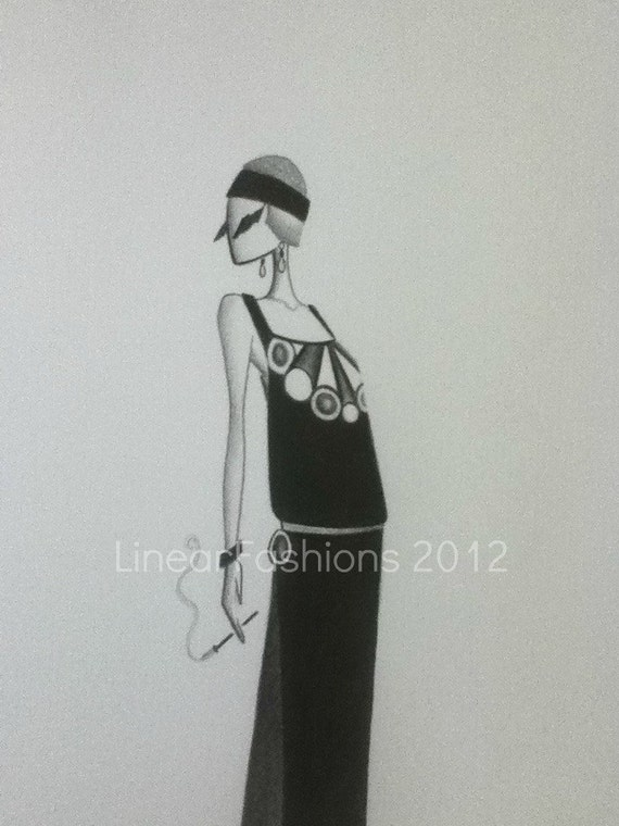 RESERVED 1920's Art Deco Fashion Illustration Sketch Home Decor