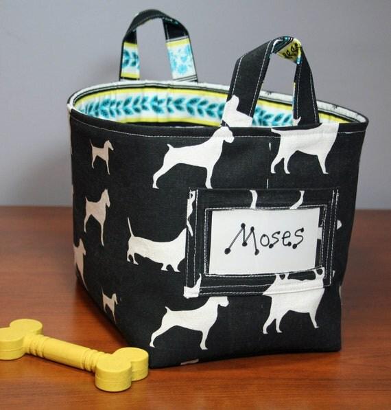 Medium Fabric Bin - Dog Lover - Personalize with Name - Organization Storage - Dog Toys, Leashes, Books
