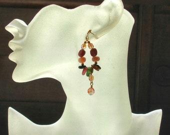 Tickled Pink-Gemstone-Tourmaline-Rhodonite-Pink Opal-Czech Glass-Earrings