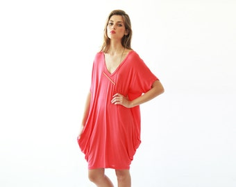 Oversize knitted coral tunic with pockets, Casual red knit dress, Beach cover up dress