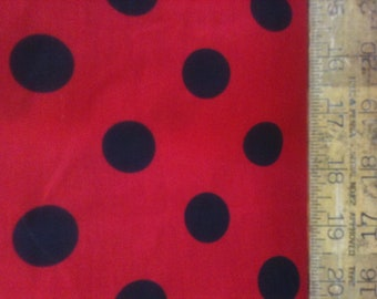 "Poly Cotton Large Black Polka Dot Print on Red Background Fabric 60"" Fabric by the Yard - 1 Yard"