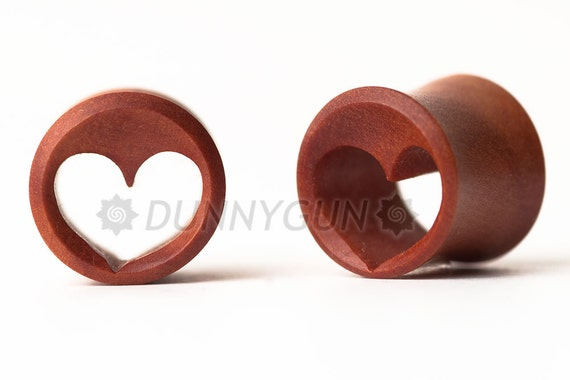 "meztliestrella reserved pair 7/16"" Pair Heart Tunnel Red Saba Wood Plugs"