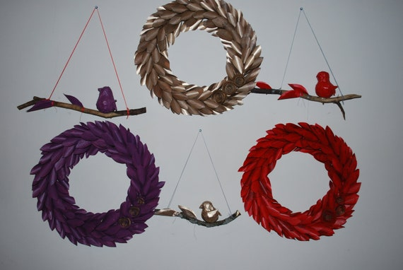 CUSTOM LISTING for Maryk Hawkins - set of 4 wreaths and 4 birds on branches
