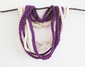 Crochet Scarf Purple Ivory Pearl Chunky Necklace Under 10