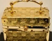 Vintage Delill Goldtone Hat Box Purse