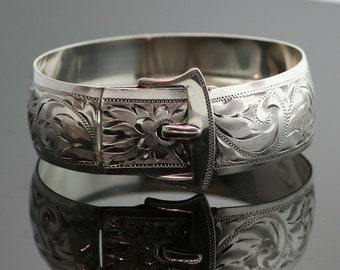 Antique Bracelet - Antique Sterling Silver Engraved Buckle Bracelet