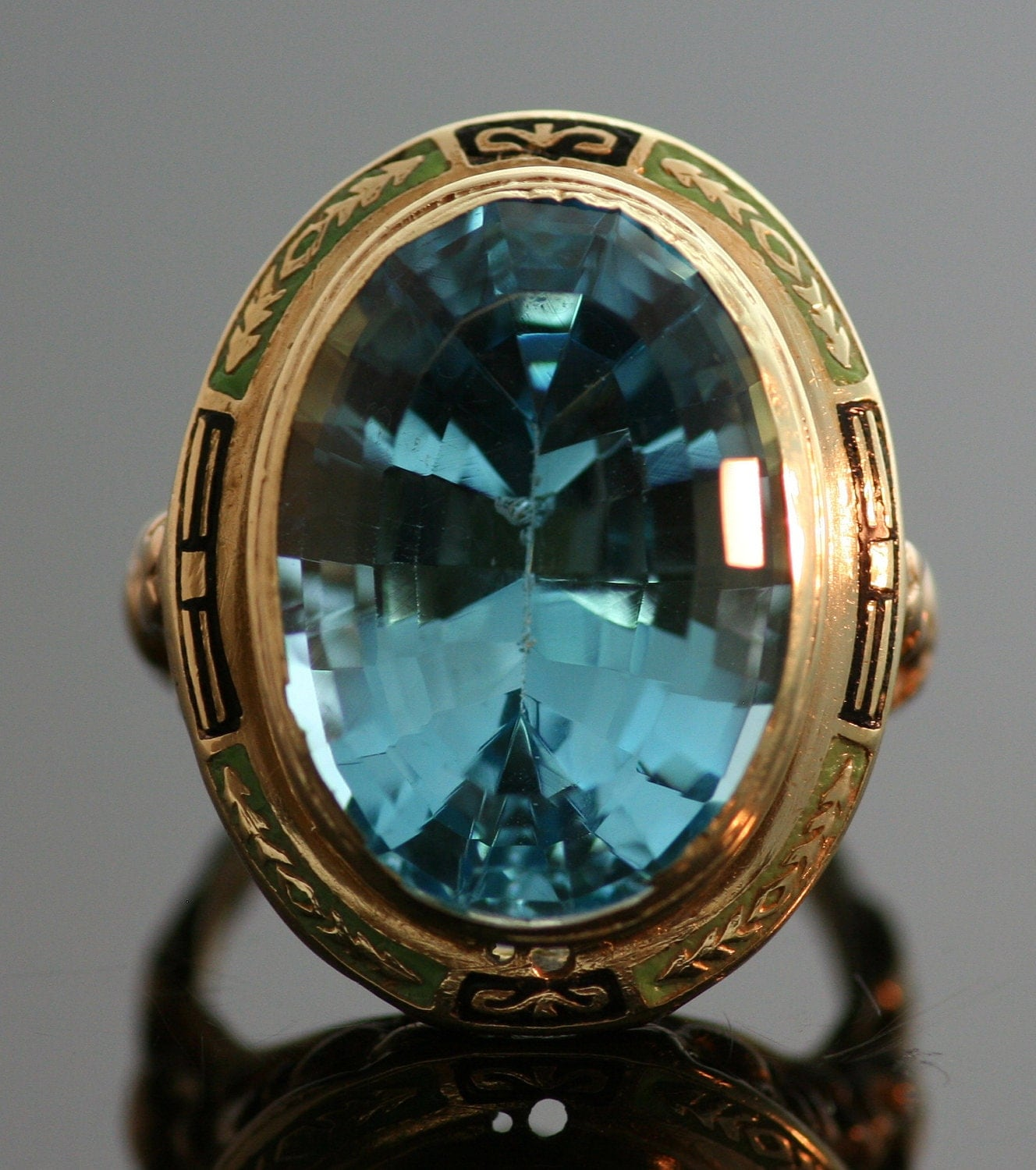 antique ring antique blue topaz ring 14k by thecoppercanary