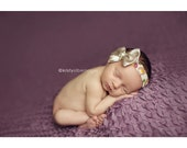 Newborn Baby Headband Photo Prop Floral Fabric Band with Taupe Bow