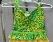 Kitchen Dish Towel Sun Dress in Yellow and Green