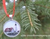 Ornament - Portland Head Light Christmas Tree Ornament featuring image of  Maine Lighthouse set in Silver Charm - travelloveco