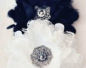 Vintage Lace Flower Hair Accessory Wedding Bridesmaid Brooch