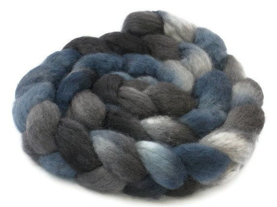 BFL Roving / Top, Blue and Grey, 3.5oz/100gm