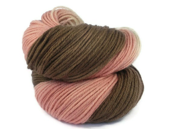 Hand Dyed Yarn Organic Merino DK Pink and Brown