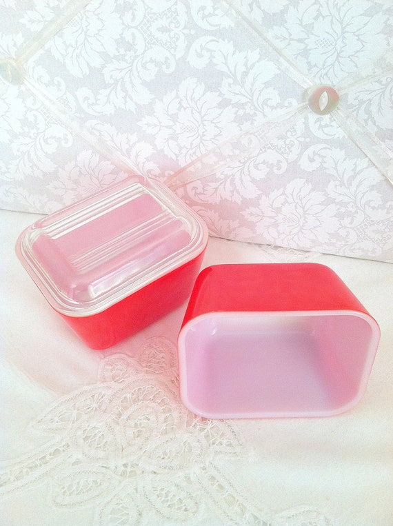 Pyrex Red Glass Oven Proof Storage Containers