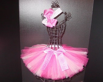 TuTu Skirt and Headband Two Piece Set Newborn to 6 Months Pink Paisley Baby Infant