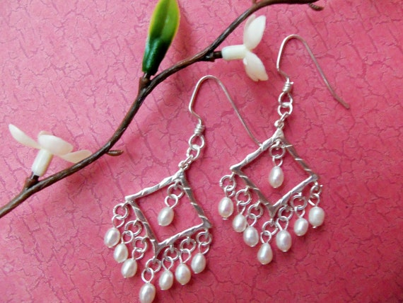 Solid Sterling Silver Chandelier Earrings with Rice Pearl - 863
