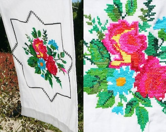 Set of 3 Vintage Cross Stitched Pillow Cases Bright Floral 1960s